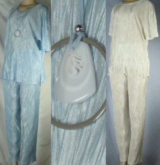 Plus Size Short Sleeve Pant Sets with Glass Medalion -