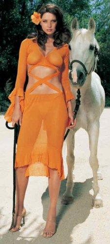 - 2 Piece Mesh Criss Cross Top & Skirt Set - Orange