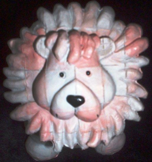 Lion Piggy Bank Mini Resin Whimsical Patchwork Design