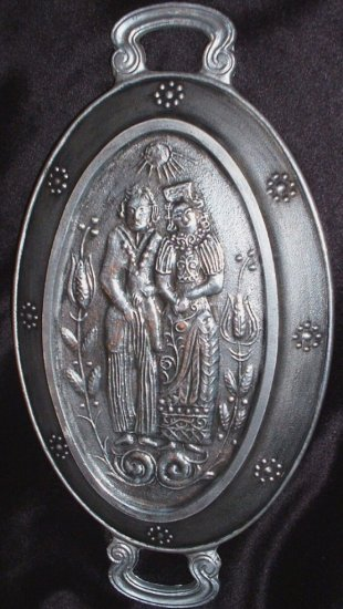 Vintage Metal Handled Pewter Serving Trary Dutch or German Man and Woman Couple