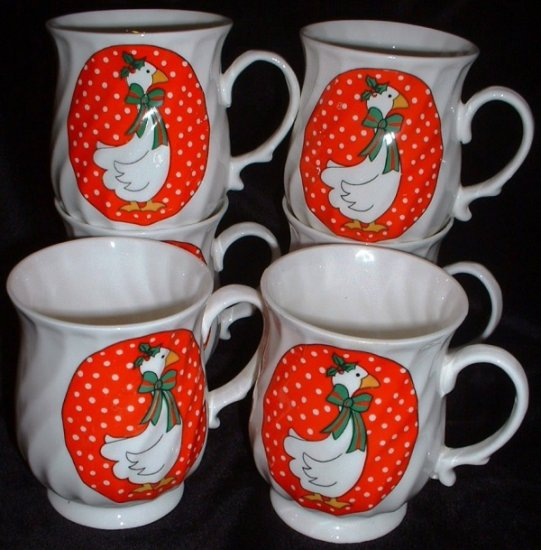 Hitkari Cups Potteries Geese Christmas Holiday Mugs Swirled Design Made in India 6 Set