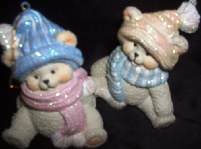2 Seasonal Holiday Christmas Tree Teddy Bear Ornaments Bears