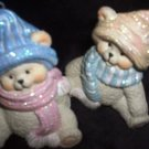 2 Seasonal Holiday Christmas Tree Teddy Bear Ornaments Bears