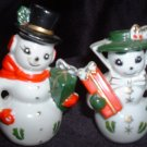 Vintage Mr & Mrs Christmas Snowman Snow Woman Collectible Salt Pepper Shaker Set Made in Japan