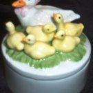 Bone China Mini Trinket Box Mama Duck and Ducklings Made in Taiwan Keepsake Box