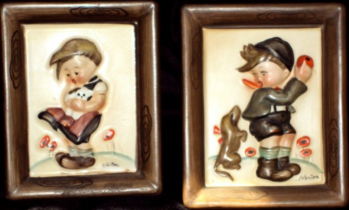 Vintage Napco Boy and Girl Children Wall Plaque Set Artist Signed Norton Ceramic Bisque Glossy Glaze