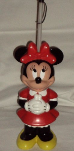 Disney Minnie Mouse Drinking Figurine Bottle Straw Made in China White Polka Dot Bow Red Dress