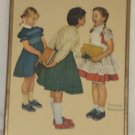 Norman Rockwell Reproduction Art Print Three Girls in School Check-up