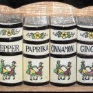 Kitchen Spice Rack Jars Wooden Wall Hanging Rack Vintage 1940's Japan