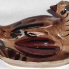 Betty Cleminsons Distlefink Hand Painted Bird Vintage Covered Butter Dish California Pottery