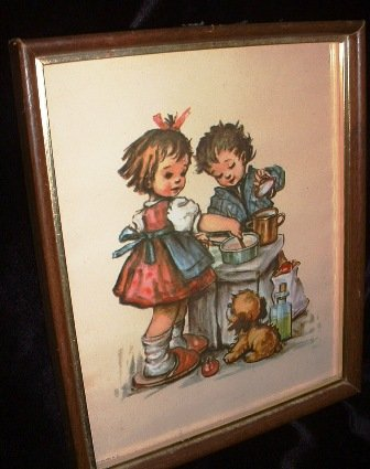 Framed Hummel Kids Litho Art Print Stapco NY Vintage 1972 by Intercraft Industries