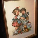 Framed Hummel Kids Litho Art Print Stapco NY Vintage 1972 by Intercraft Industries