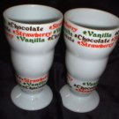 Price Imports Ice Cream Parlor Footed Mugs Ceramic Lot2 Vintage Soda Fountain Glasses