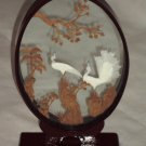 Asian Oriental Carved Cork Exotic Birds n Trees Oval Glass Lacquered Frame