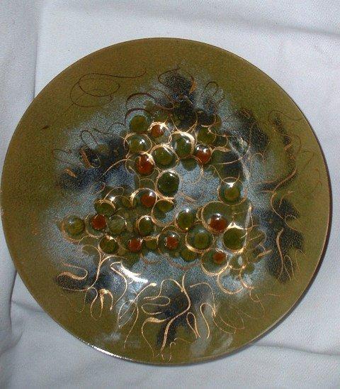 Sascha Brastoff Mid-Century Enamel Copper Grape Vintage Fruit Bowl