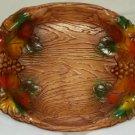 Vintage Wood-Like Molded Handled Oval Tray Plastic Fall Festival Platter