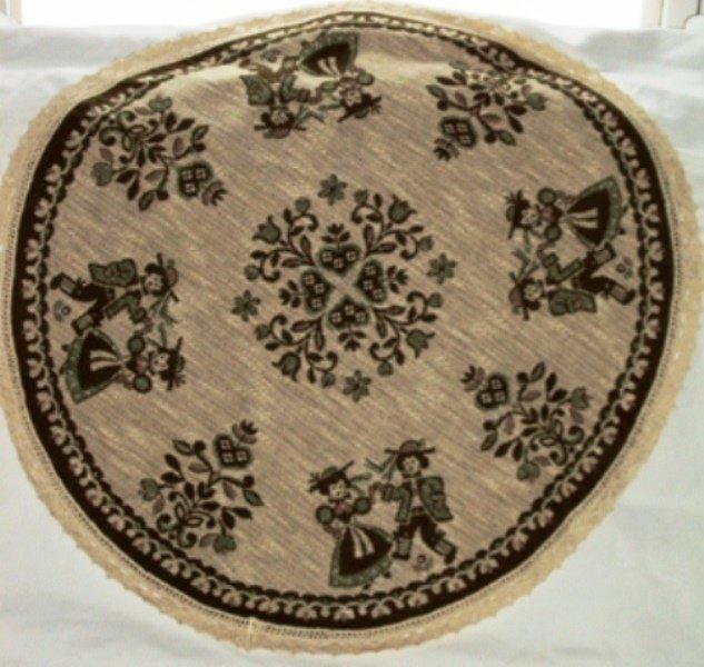Austrian Linen Round Reversible Table Topper Tyrolean Couple
