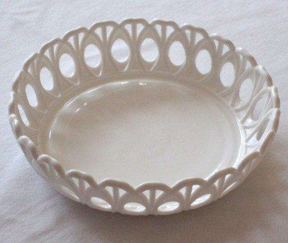 Vintage Milk Glass Bowl / Open Lacework Design / Compote / Fruit Bowl