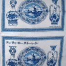 Royal Delft Ware Pottery Blue Linen Napkin Vintage Tea Towel or Place Mat (Set of 2) 1970s