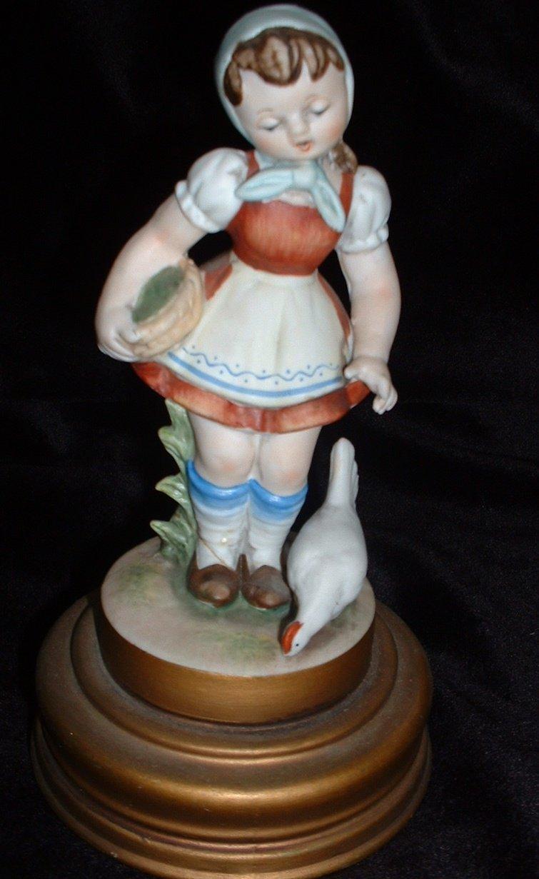 Vintage Schmid Bros Porcelain German Girl Music Box Hi Lily Hi Lo Japan
