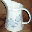 Vintage White Pottery Milk Pitcher Blue Floral Creamer Octagon Ewer