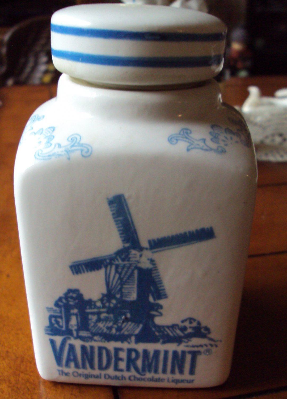 Vintage Vandermint The Original Dutch Chocolate Liqueur Jug Blue Windmill Ceramic Canister & Lid