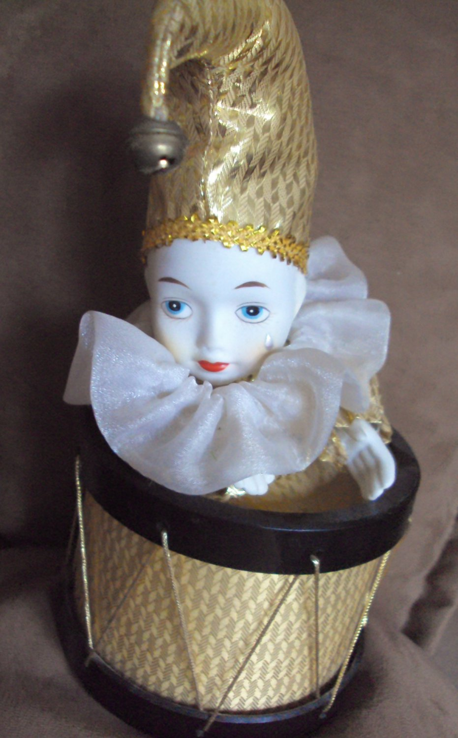 Vintage Musical Weeping Pierrot Porcelain Doll in a Drum Jester Clown Music Box Send in the Clowns
