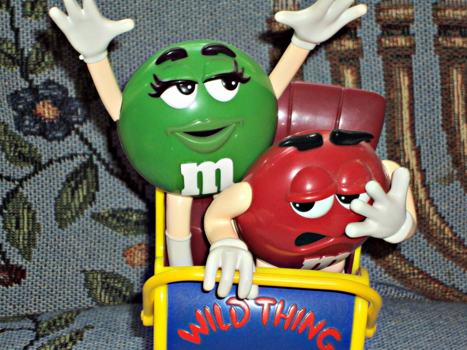 M & M's Mars Candy Wild Thing Dispenser Roller Coaster Green Girl & Red Boy Characters