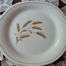 Edwin M. Knowles Semi Vitreous Golden Wheat Handled Cake Platter Gold Band 1940s