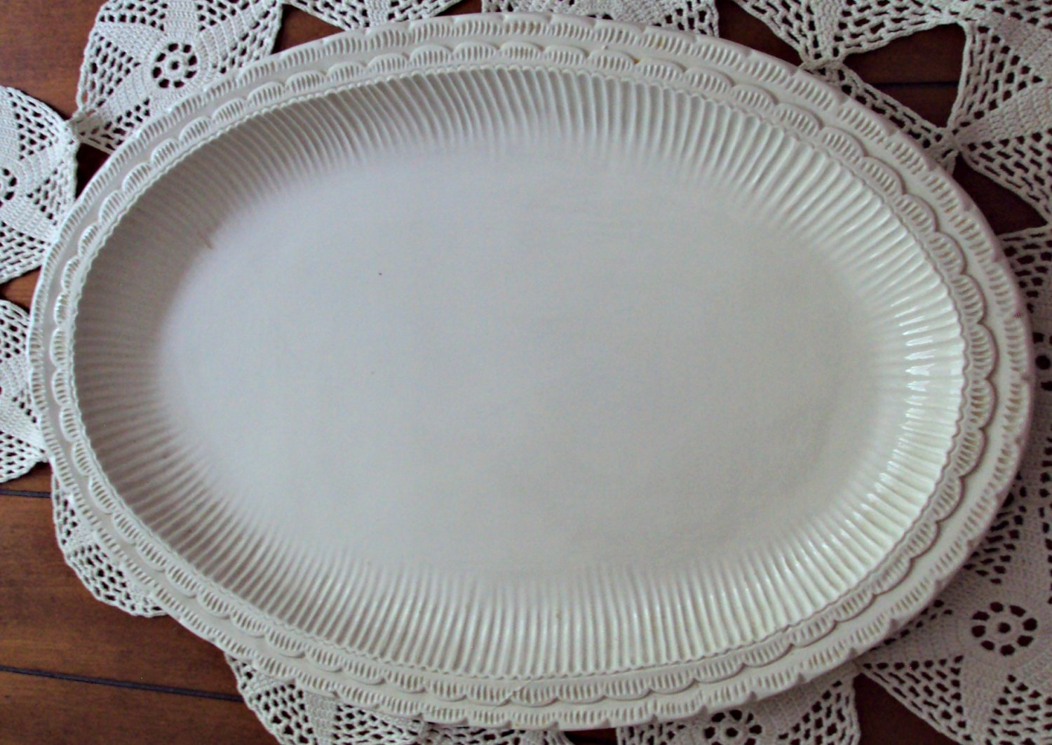 Vintage Large Oval White Ribbed Platter Made in Italy