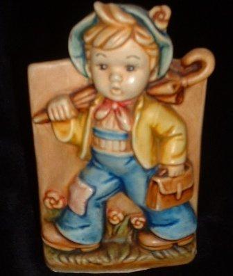 Hummel-Type Vintage Boy Planter The Merry Wander Figurine Pottery