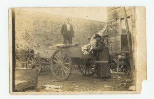 Men Loading Horse-Drawn Butcher Wagon? Vintage  Photo Postcard