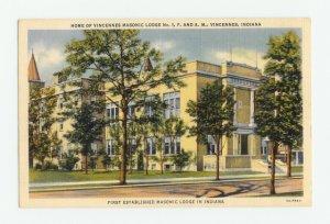 Vincennes Masonic Lodge No. 1 F&AM Indiana Postcard