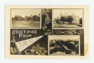 Tri-View Greetings from Juneau Wisconsin Postcard 1912