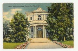 Rick's Memorial Library Yazoo City MS Postcard 1940s?