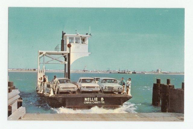Ferry Boat Nellie B Port Aransas Texas Postcard 1960s