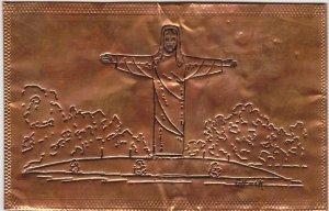 Christ of the Ozarks Copper foil Postcard
