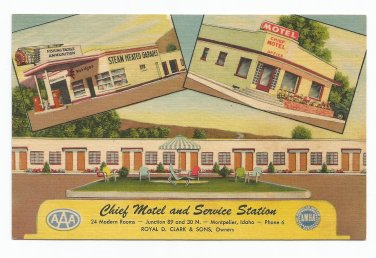 Chief Motel and Service Station Montpelier Idaho Linen Postcard