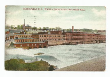 Finch & Pruyn Pulp and Paper Mill Glens Falls New York Postcard 1909