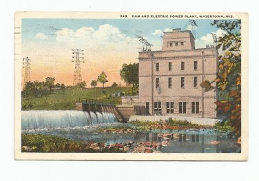 Dam and Electric Power Plant Watertown Wisconsin 1920 Postcard