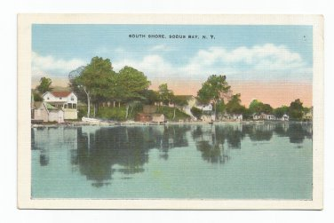 South Shore Sodus Bay New York Linen F.W. Peck Postcard