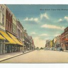Early Main Street Yazoo City Mississippi Linen Tichnor Postcard