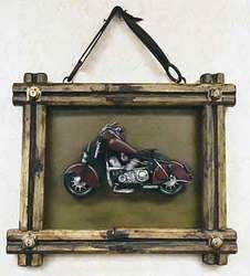 SimpleYears Motorcycle in framed wall hanging  JL164