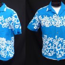 SALE Vintage 50s Mens Kamehameha Blue and White Cotton Hawaiian Shirt Looped Collar M to L