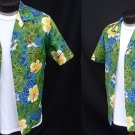 Vintage 60s Mens Lauhala Loop Collar Tropical Hibiscus Batik Print Hawaiian Cotton Shirt - M