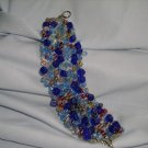 Cobalt Blue and Multicolor Knitted Silver Wire Bracelet