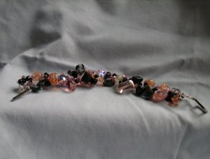 Black and Pink Knitted Wire Bracelet