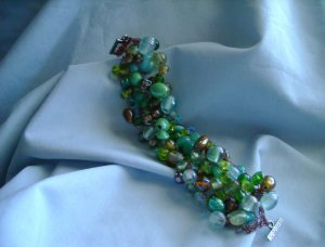 Autumn Green and Turquoise Bracelet