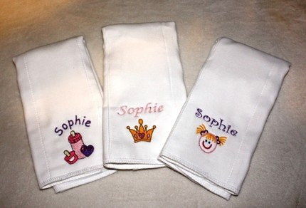 Baby Girl's Embroidered Monogrammed Burp Cloth Set