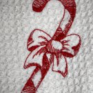 Embroidered Candy Cane Kitchen Towel